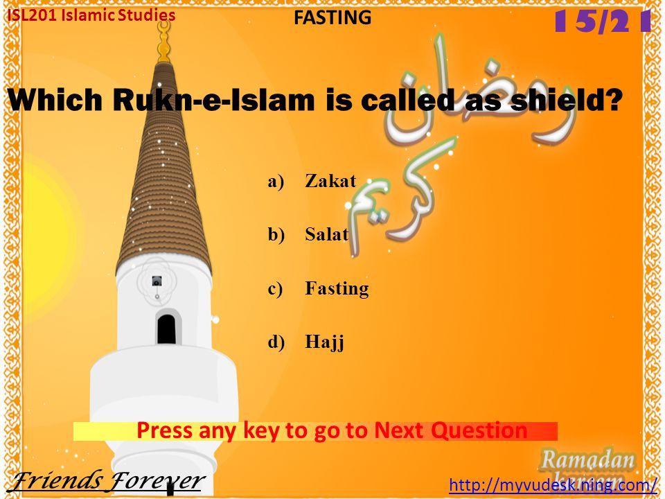 Aitekaf during the month of Ramzan is _________. a)Farz b)Nafl c)Wajib d)Sunnat ISL201 Islamic Studies Friends Forever http://myvudesk.ning.com/ FASTI