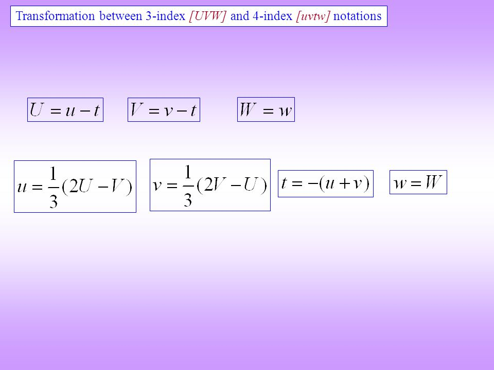 Transformation between 3-index [UVW] and 4-index [uvtw] notations