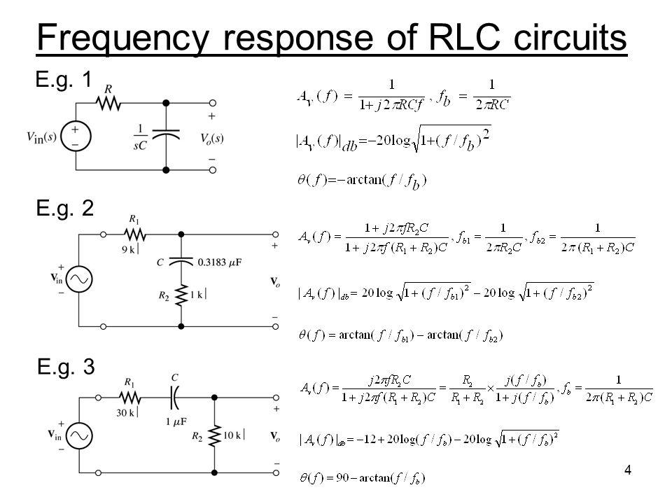 4 Frequency response of RLC circuits E.g. 1 E.g. 3 E.g. 2