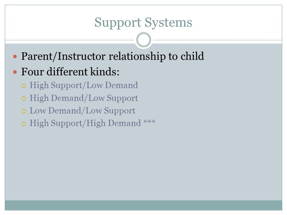 Support Systems Parent/Instructor relationship to child Four different kinds:  High Support/Low Demand  High Demand/Low Support  Low Demand/Low Support  High Support/High Demand ***