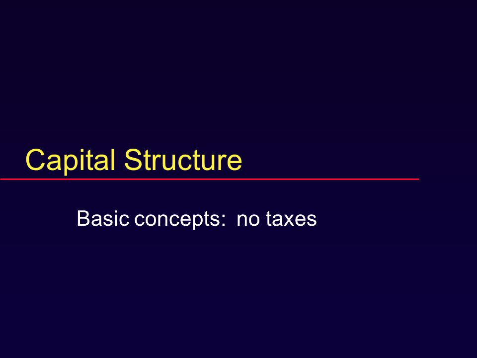 Capital Structure Basic concepts: no taxes