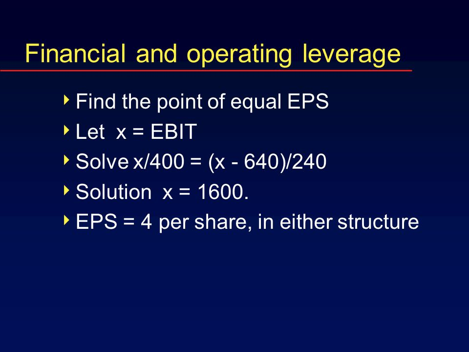 Financial and operating leverage  Find the point of equal EPS  Let x = EBIT  Solve x/400 = (x - 640)/240  Solution x = 1600.