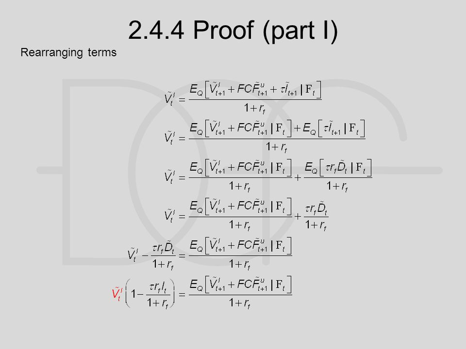 2.4.4 Proof (part I) Rearranging terms