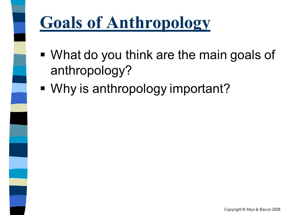 Copyright © Allyn & Bacon 2008 Some Key Aspects of Anthropology (continued)  Takes a long-term perspective  Relies on extensive fieldwork  Participant observation or ethnographic research  May result in an ethnography – an in-depth description of a culture based on firsthand (primary) research (p.