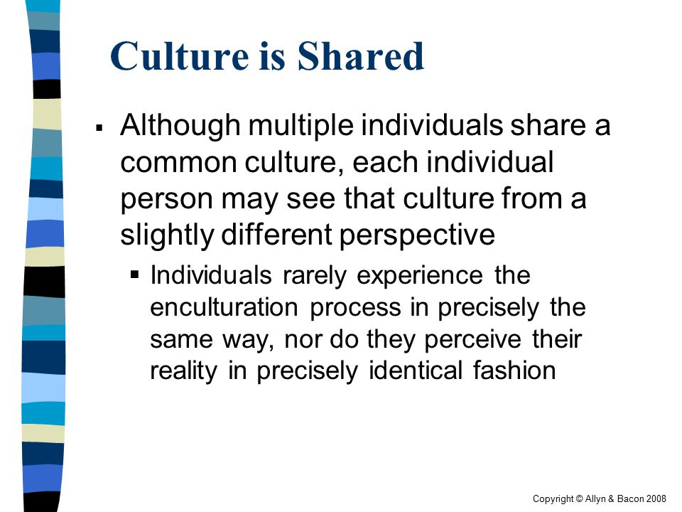 Copyright © Allyn & Bacon 2008 Culture is Shared  Although multiple individuals share a common culture, each individual person may see that culture f