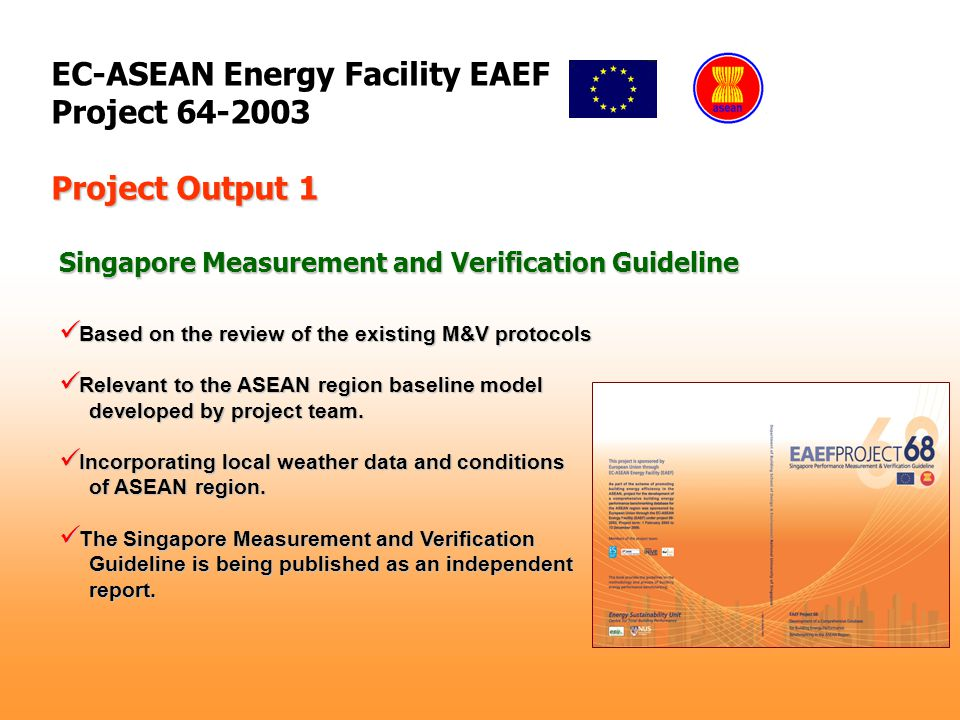 EC-ASEAN Energy Facility EAEF Project 64-2003 Based on the review of the existing M&V protocols Based on the review of the existing M&V protocols Relevant to the ASEAN region baseline model Relevant to the ASEAN region baseline model developed by project team.