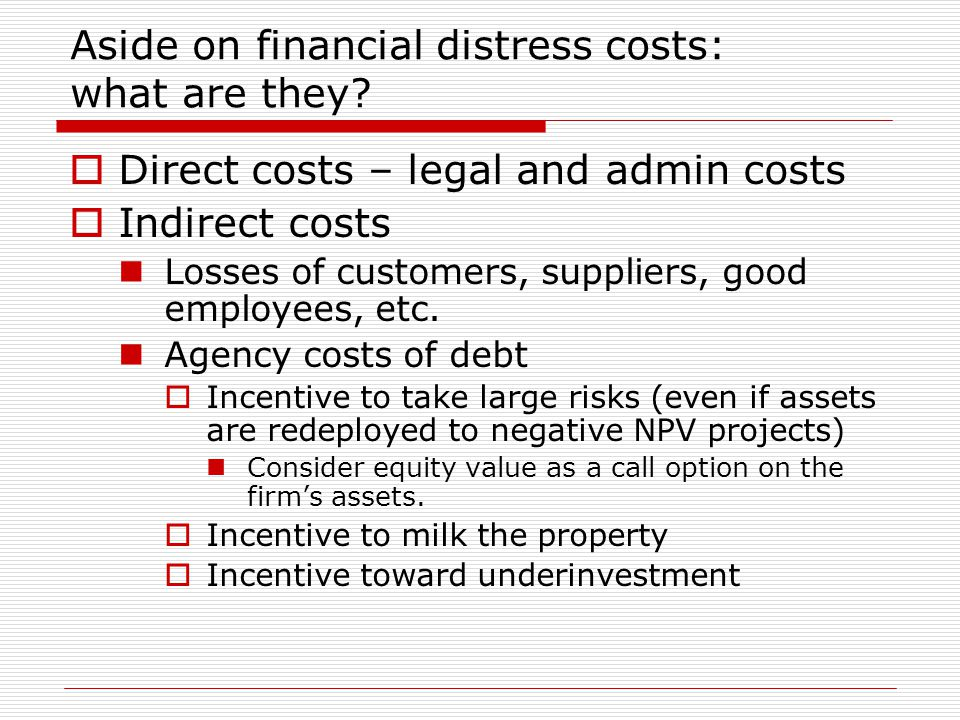Aside on financial distress costs: what are they.