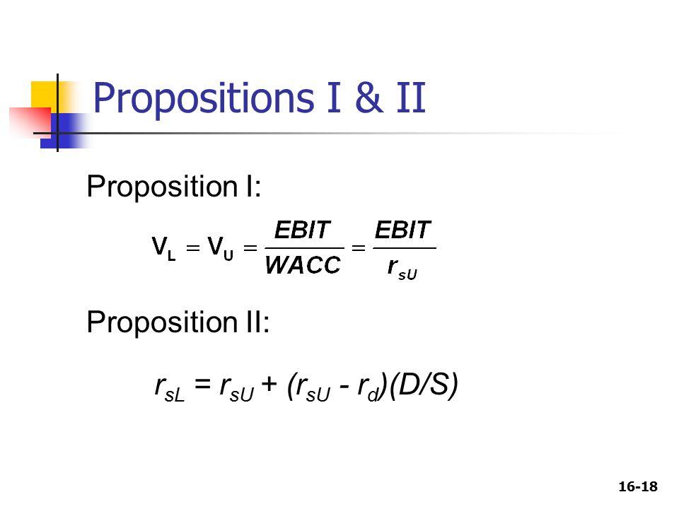16-18 Propositions I & II r sL = r sU + (r sU - r d )(D/S) Proposition I: Proposition II: