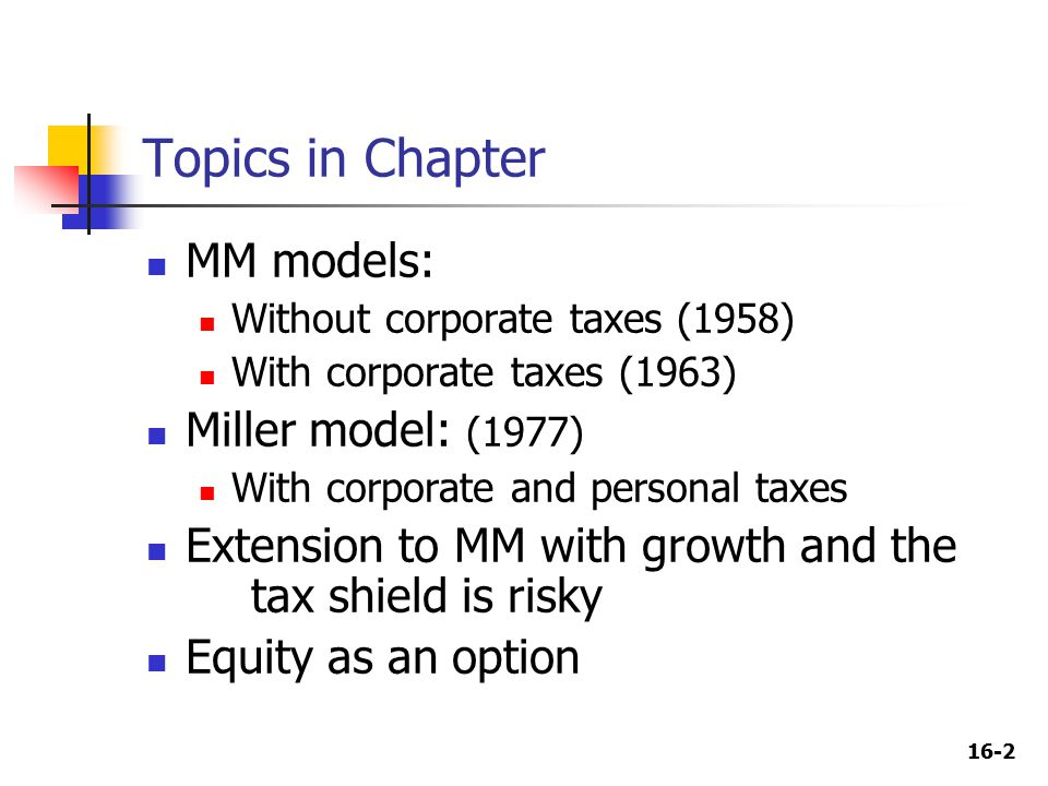 16-2 Topics in Chapter MM models: Without corporate taxes (1958) With corporate taxes (1963) Miller model: (1977) With corporate and personal taxes Extension to MM with growth and the tax shield is risky Equity as an option