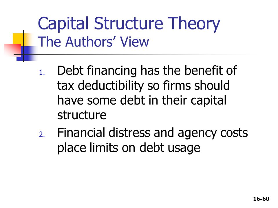 16-60 Capital Structure Theory The Authors' View 1.