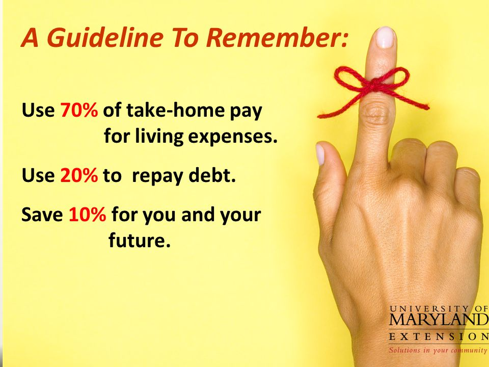Use 70% of take-home pay for living expenses.Use 20% to repay debt.