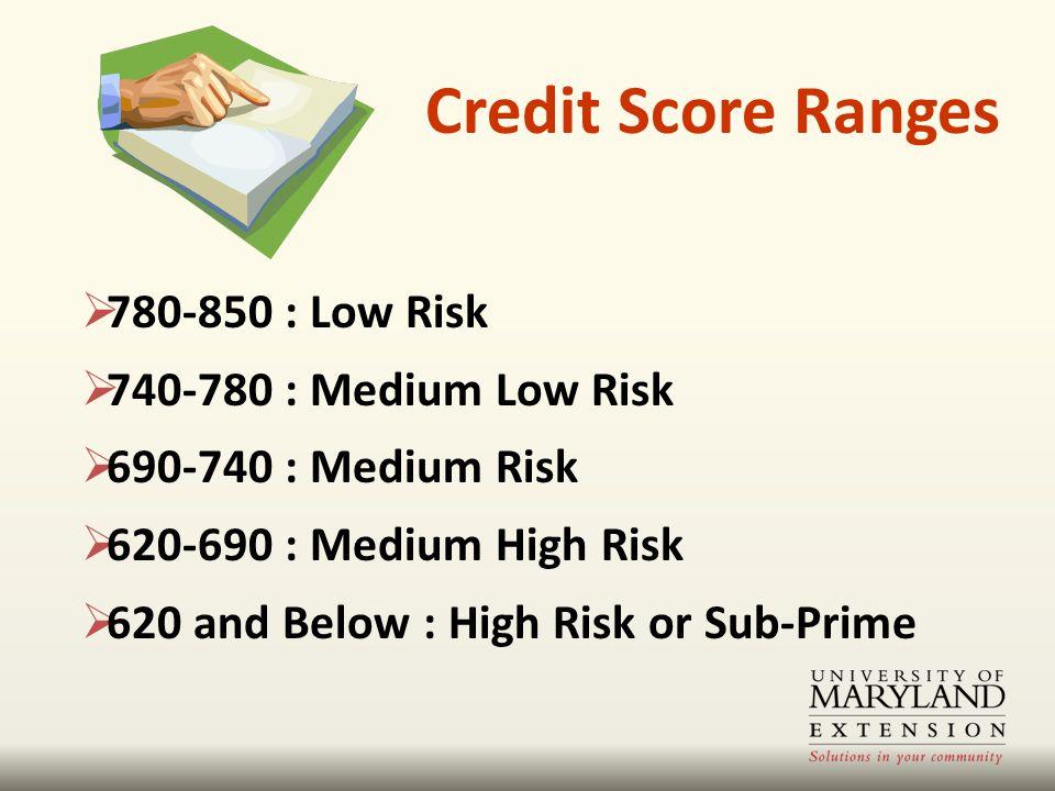 Credit Score Ranges  780-850 : Low Risk  740-780 : Medium Low Risk  690-740 : Medium Risk  620-690 : Medium High Risk  620 and Below : High Risk