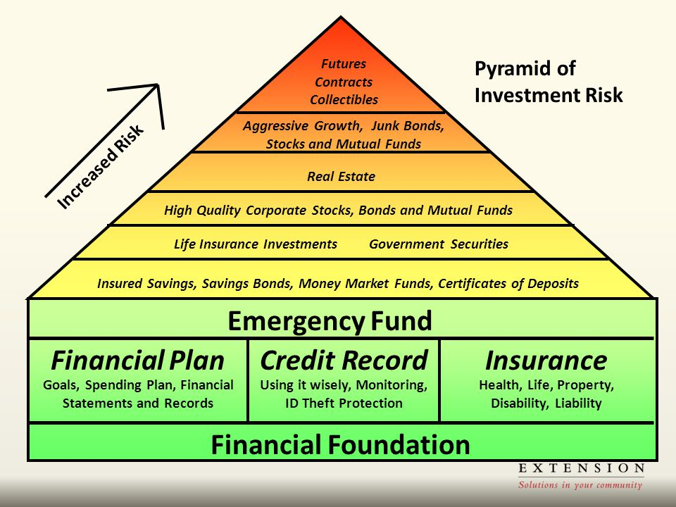 Insured Savings, Savings Bonds, Money Market Funds, Certificates of Deposits Life Insurance Investments Government Securities High Quality Corporate S