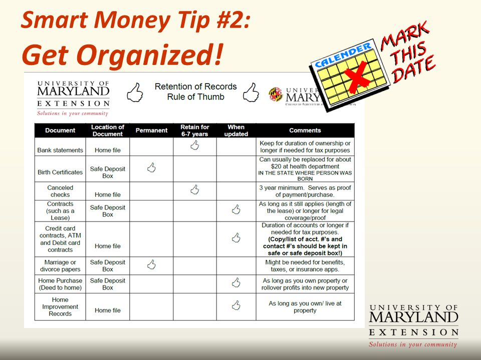 Smart Money Tip #2: Get Organized!