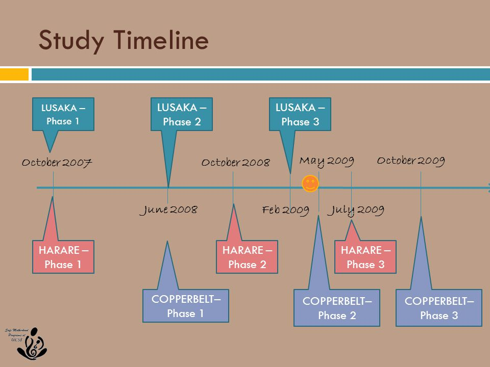 Study Timeline October 2007October 2008 June 2008 October 2009May 2009 Feb 2009 July 2009 LUSAKA – Phase 1 HARARE – Phase 1 LUSAKA – Phase 3 LUSAKA – Phase 2 HARARE – Phase 3 HARARE – Phase 2 COPPERBELT– Phase 3 COPPERBELT– Phase 2 COPPERBELT– Phase 1