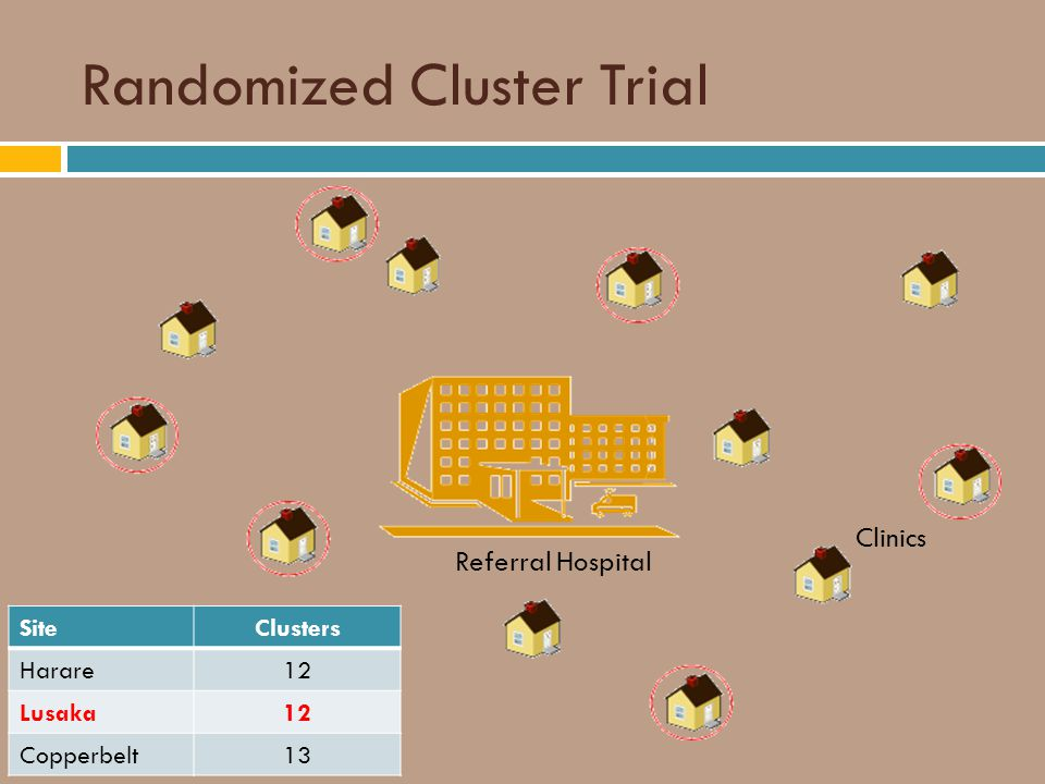 Randomized Cluster Trial Clinics Referral Hospital SiteClusters Harare12 Lusaka12 Copperbelt13