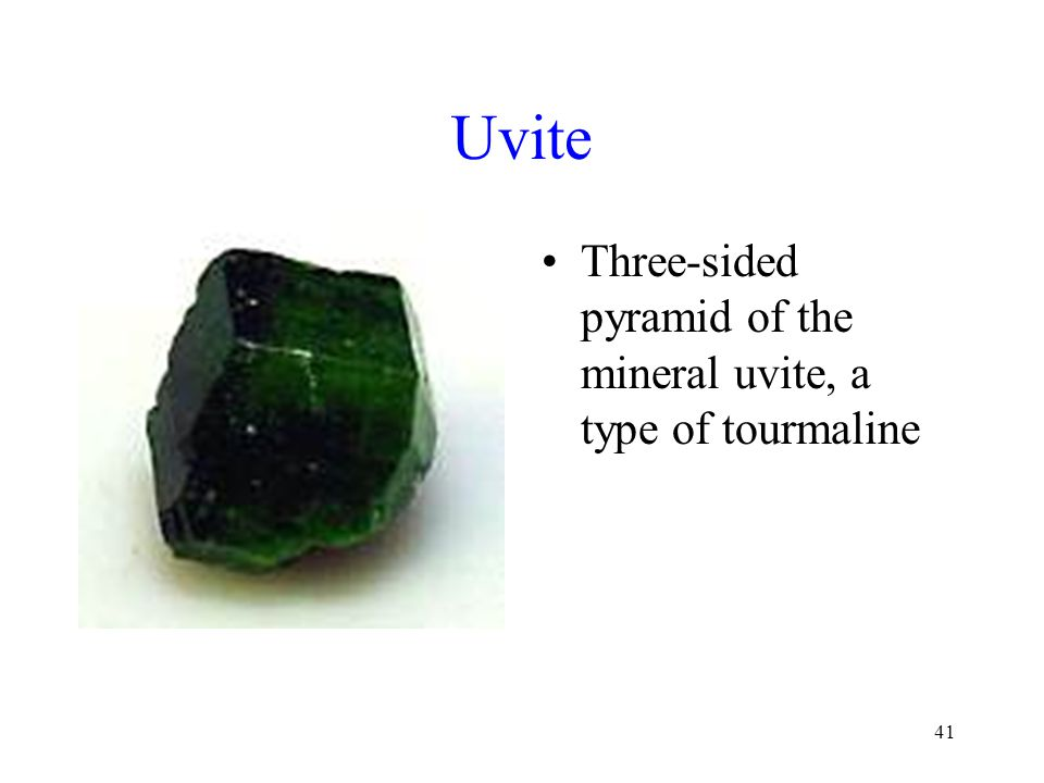 41 Uvite Three-sided pyramid of the mineral uvite, a type of tourmaline