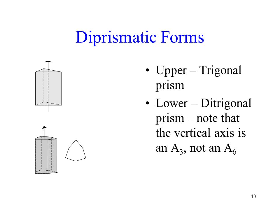 43 Diprismatic Forms Upper – Trigonal prism Lower – Ditrigonal prism – note that the vertical axis is an A 3, not an A 6
