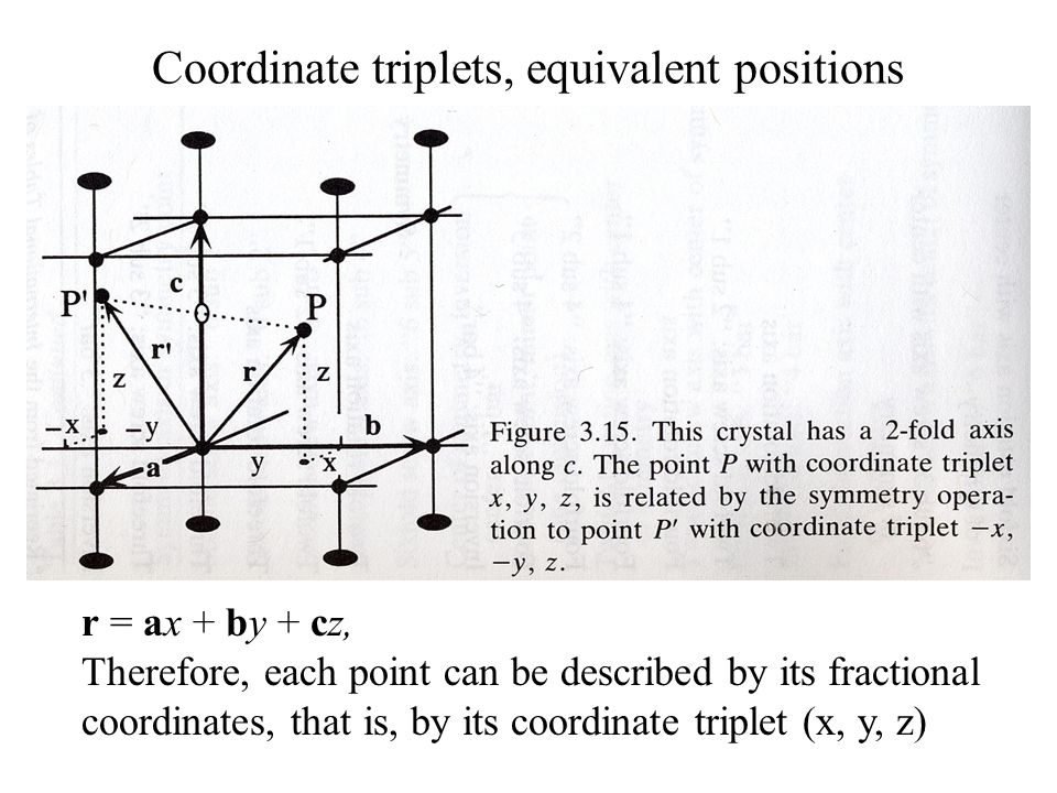 Coordinate triplets, equivalent positions r = ax + by + cz, Therefore, each point can be described by its fractional coordinates, that is, by its coor