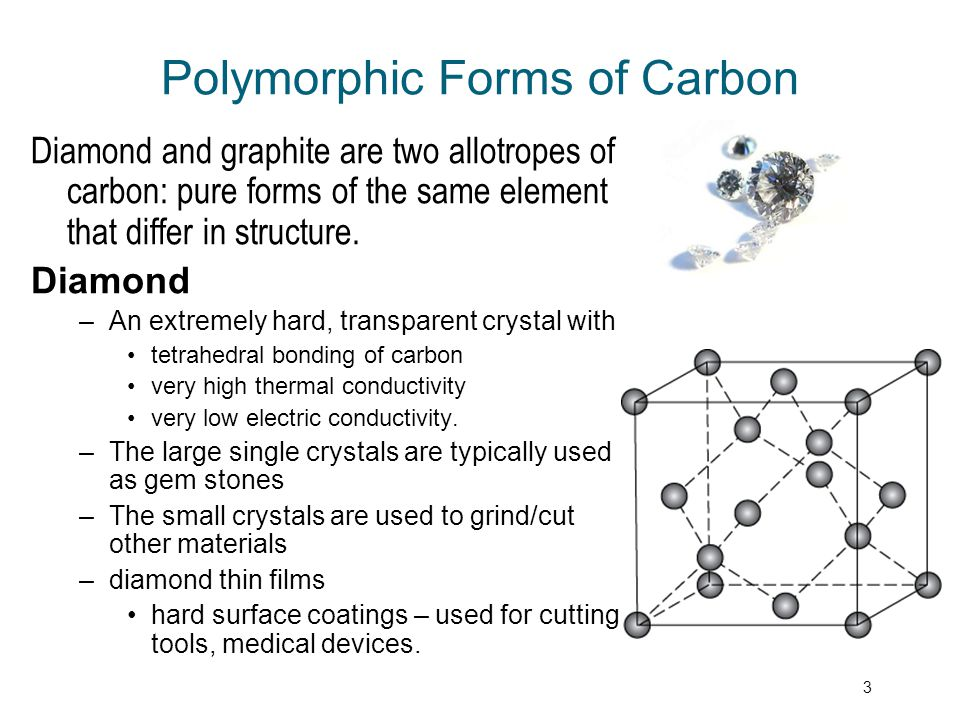 4 Polymorphic Forms of Carbon Graphite –a soft, black, flaky solid, with a layered structure – parallel hexagonal arrays of carbon atoms –weak van der Waal's forces between layers –planes slide easily over one another
