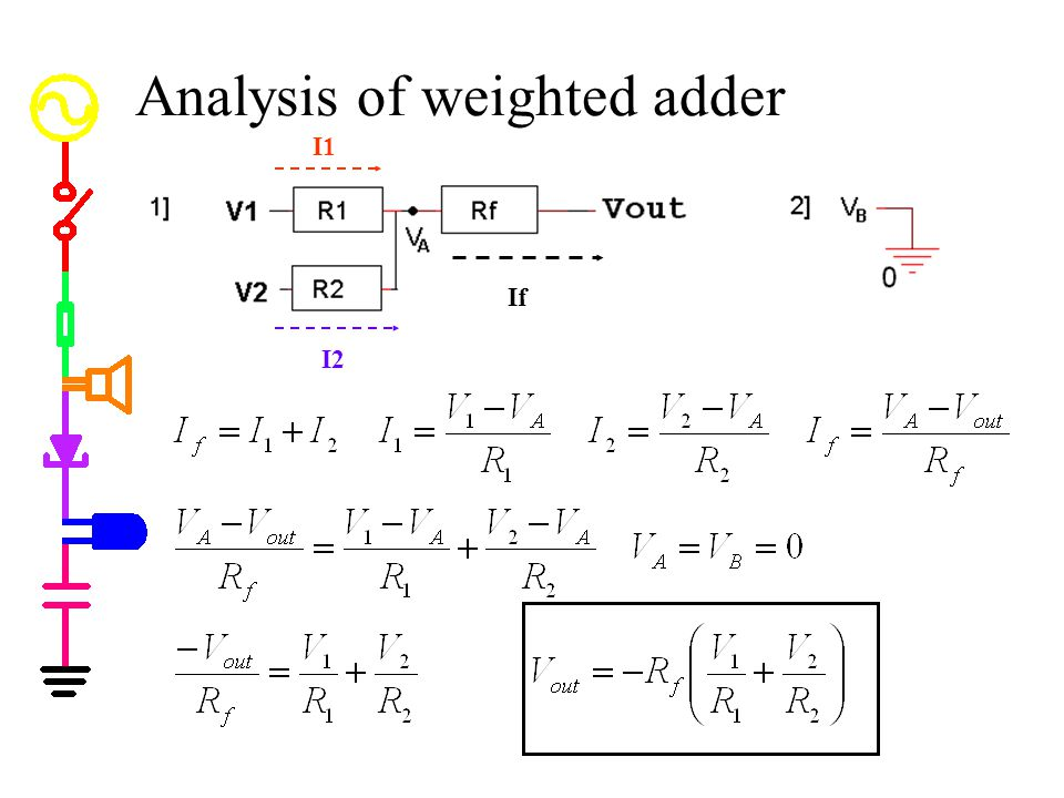 Analysis of weighted adder I2 I1 If