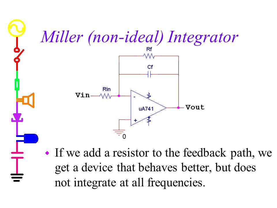 Miller (non-ideal) Integrator w If we add a resistor to the feedback path, we get a device that behaves better, but does not integrate at all frequenc