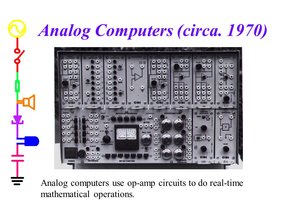 Analog Computers (circa. 1970) Analog computers use op-amp circuits to do real-time mathematical operations.