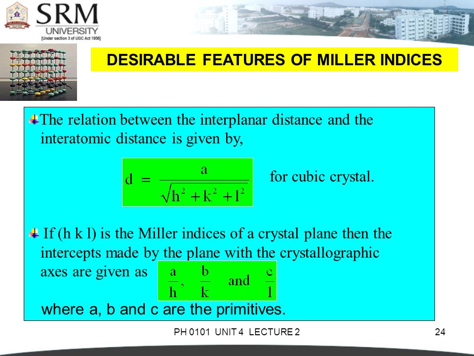 PH 0101 UNIT 4 LECTURE 224 DESIRABLE FEATURES OF MILLER INDICES The relation between the interplanar distance and the interatomic distance is given by