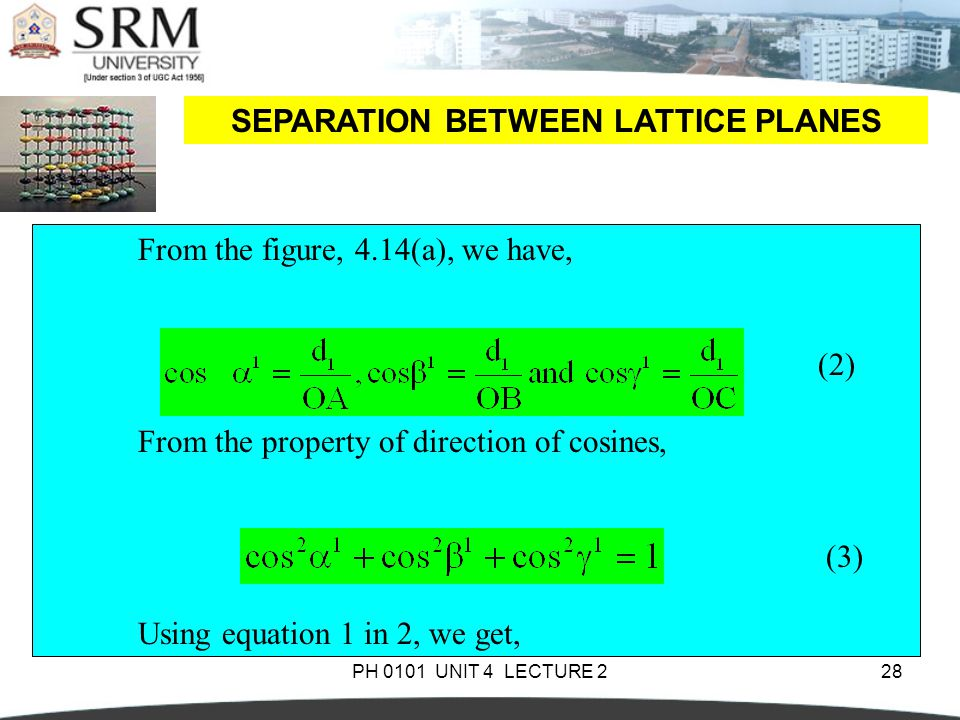 PH 0101 UNIT 4 LECTURE 228 SEPARATION BETWEEN LATTICE PLANES From the figure, 4.14(a), we have, (2) From the property of direction of cosines, (3) Usi