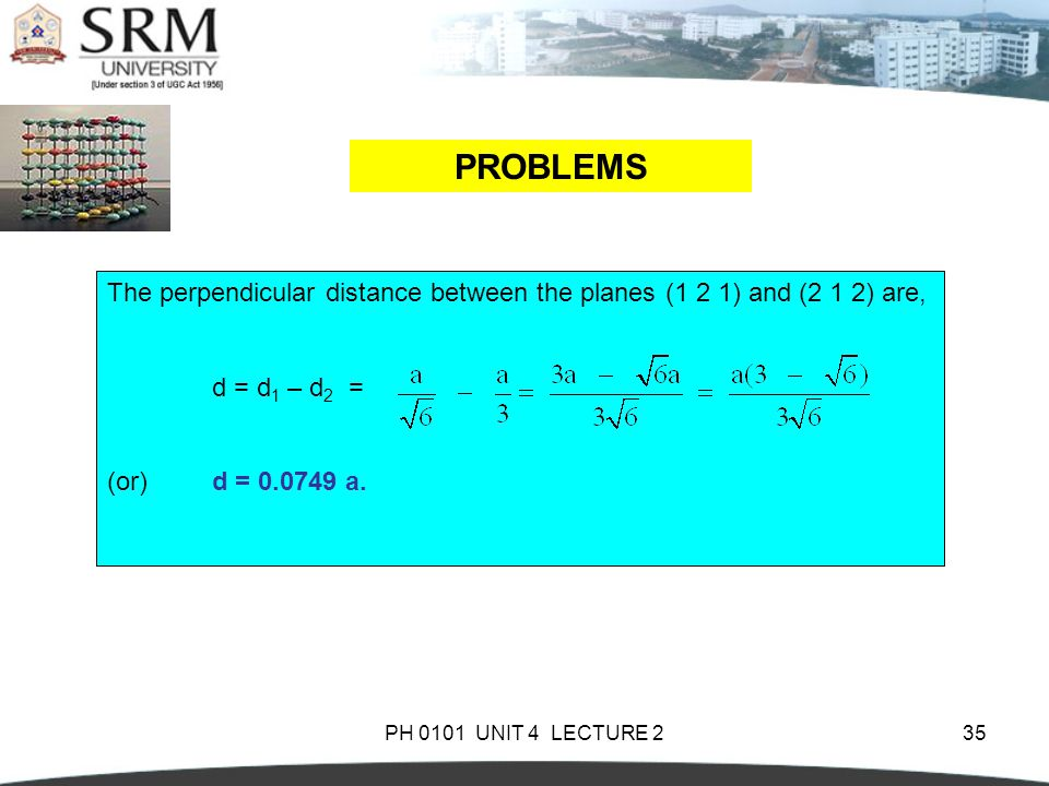 PH 0101 UNIT 4 LECTURE 235 PROBLEMS The perpendicular distance between the planes (1 2 1) and (2 1 2) are, d = d 1 – d 2 = (or)d = 0.0749 a.