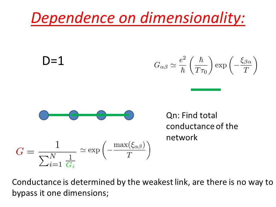 Dependence on dimensionality: Qn: Find total conductance of the network D=1 Conductance is determined by the weakest link, are there is no way to bypa
