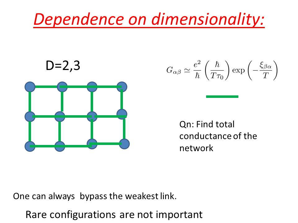 Dependence on dimensionality: Qn: Find total conductance of the network D=2,3 One can always bypass the weakest link. Rare configurations are not impo