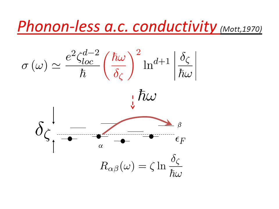 Phonon-less a.c. conductivity (Mott,1970)  