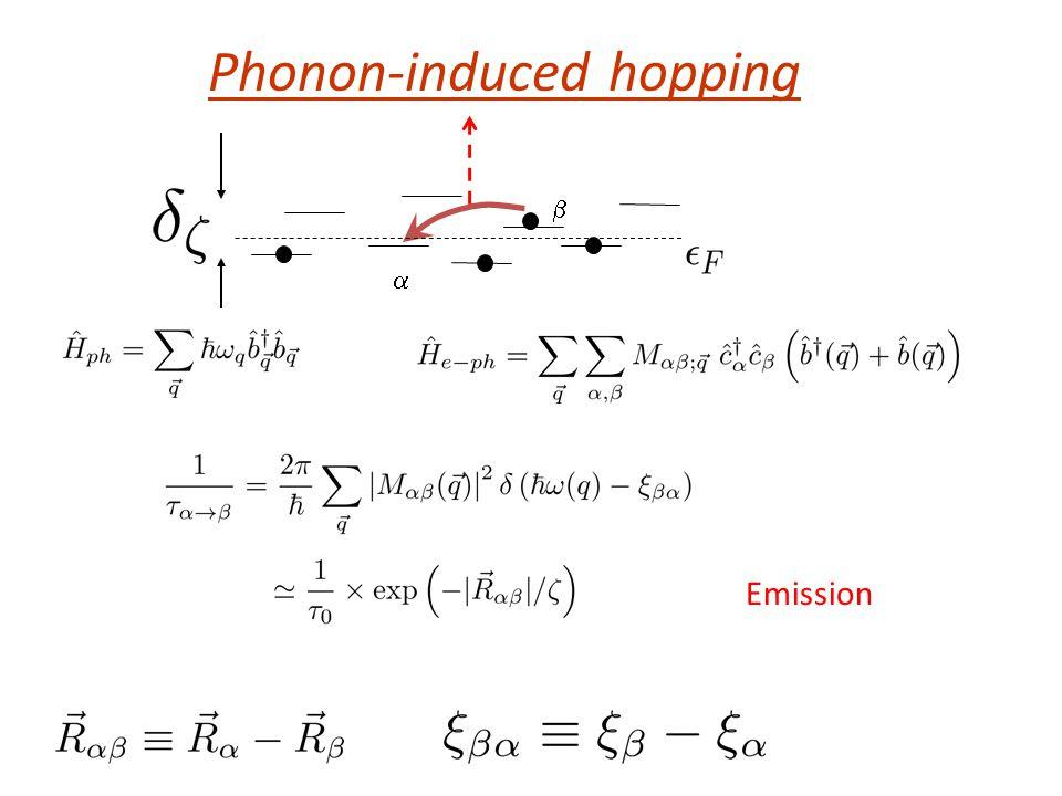 Phonon-induced hopping   Emission