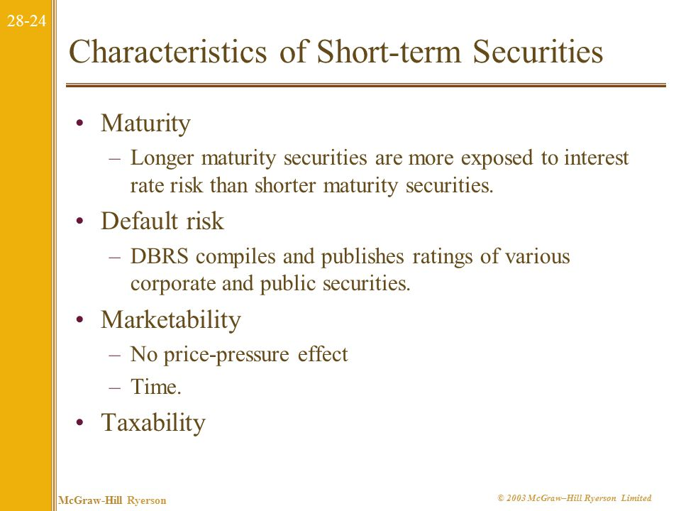 28-24 McGraw-Hill Ryerson © 2003 McGraw–Hill Ryerson Limited Characteristics of Short-term Securities Maturity –Longer maturity securities are more exposed to interest rate risk than shorter maturity securities.