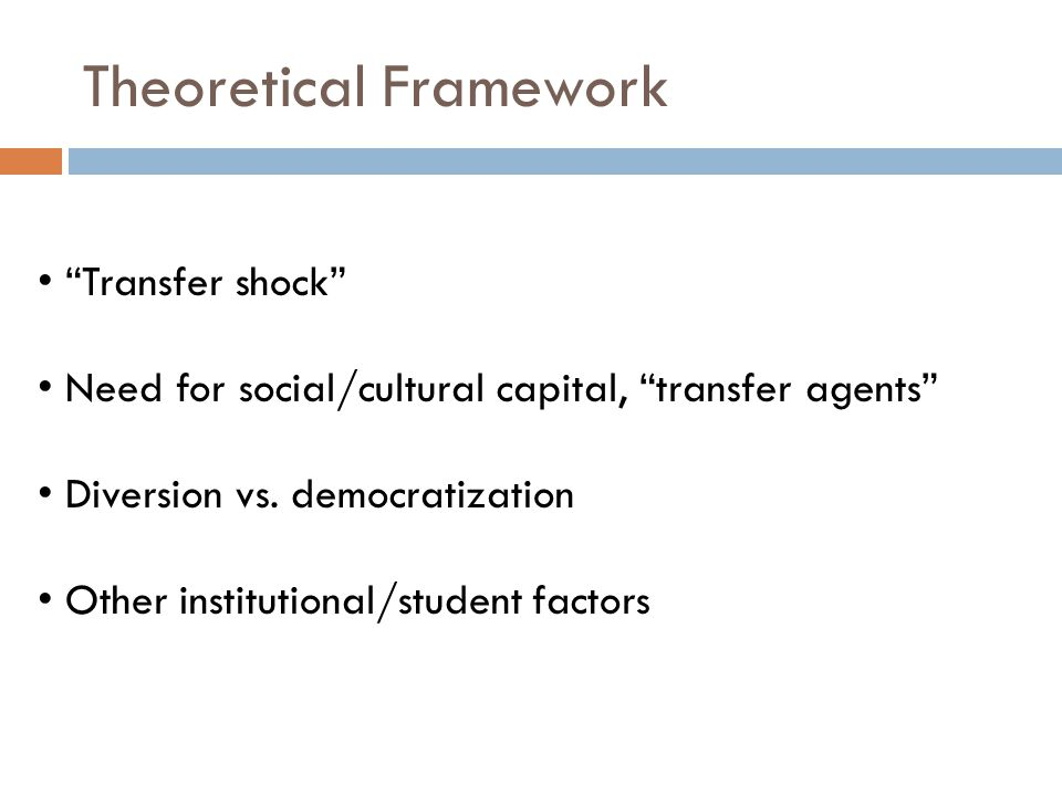 Theoretical Framework Transfer shock Need for social/cultural capital, transfer agents Diversion vs.