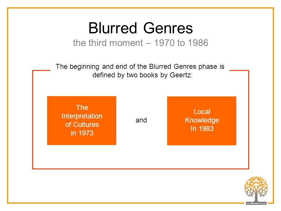 Blurred Genres the third moment – 1970 to 1986 Local Knowledge In 1983 The Interpretation of Cultures in 1973 and The beginning and end of the Blurred