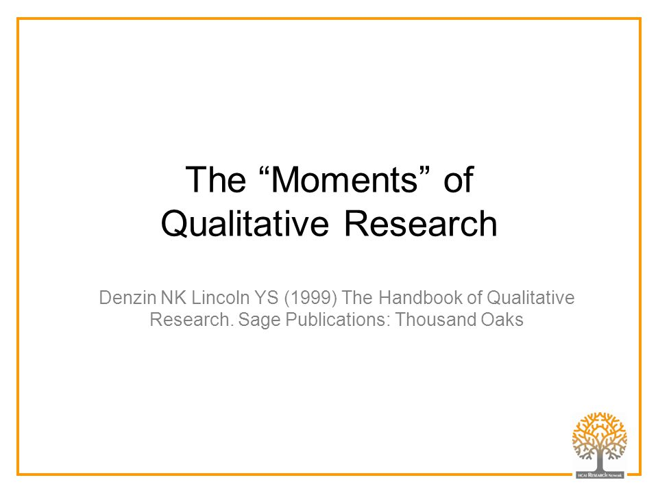 "The ""Moments"" of Qualitative Research Denzin NK Lincoln YS (1999) The Handbook of Qualitative Research. Sage Publications: Thousand Oaks"