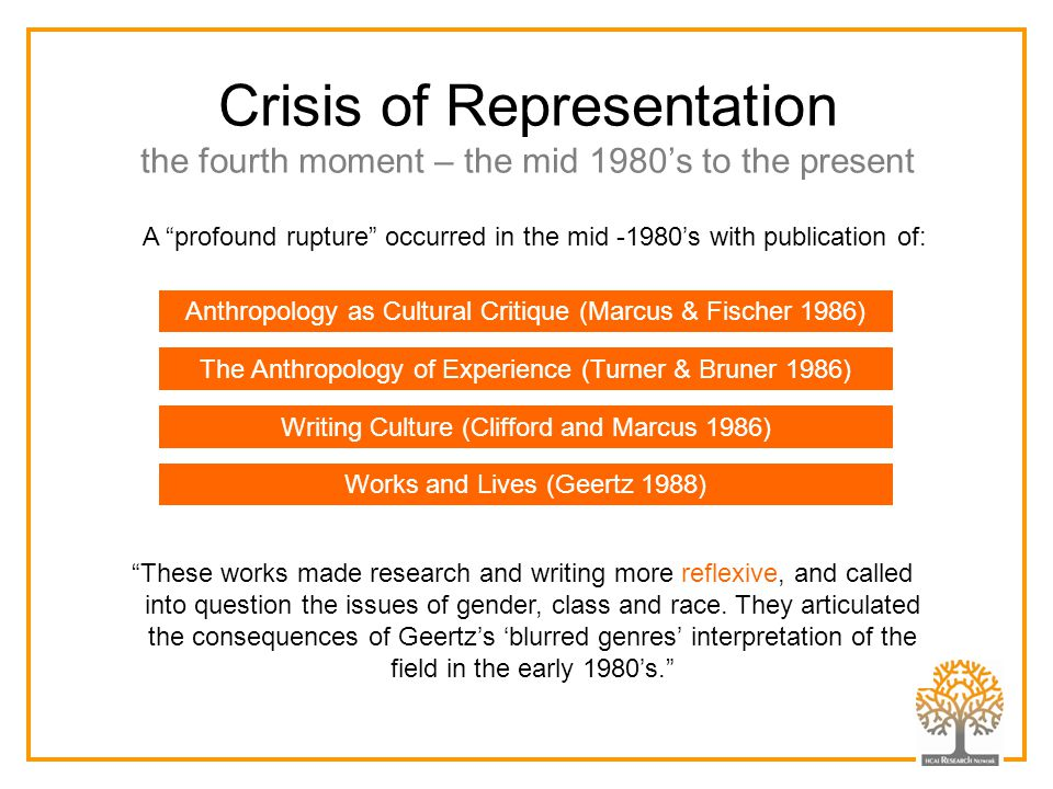 "Crisis of Representation the fourth moment – the mid 1980's to the present A ""profound rupture"" occurred in the mid -1980's with publication of: Anthr"