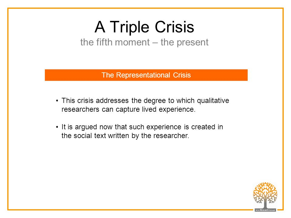 A Triple Crisis the fifth moment – the present The Representational Crisis This crisis addresses the degree to which qualitative researchers can captu