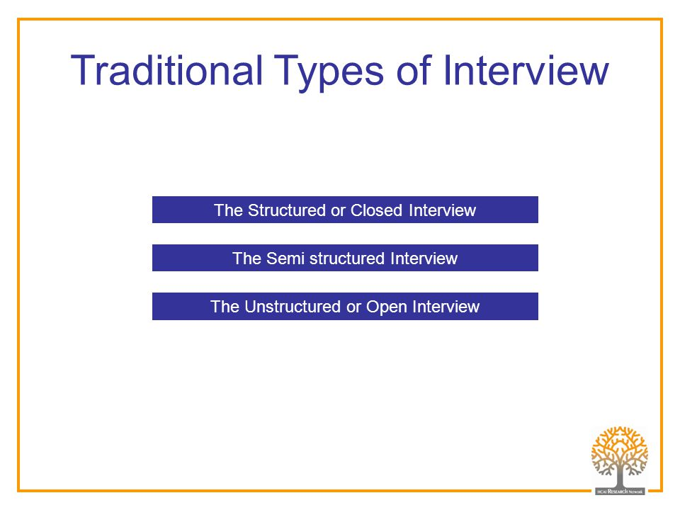 Traditional Types of Interview The Structured or Closed Interview The Semi structured Interview The Unstructured or Open Interview