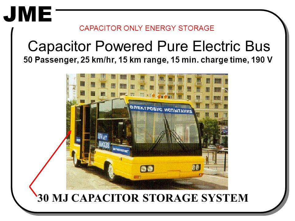 JME Capacitor Powered Pure Electric Bus 50 Passenger, 25 km/hr, 15 km range, 15 min.