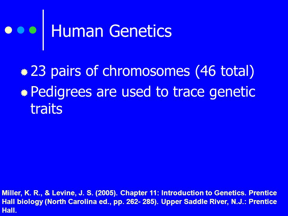 Pedigree Study  Method of determining the genotype of individuals by looking at inheritance patterns Miller, K.