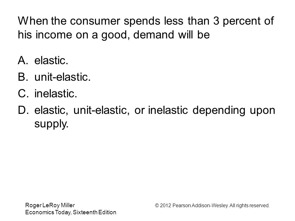 Roger LeRoy Miller © 2012 Pearson Addison-Wesley. All rights reserved. Economics Today, Sixteenth Edition When the consumer spends less than 3 percent