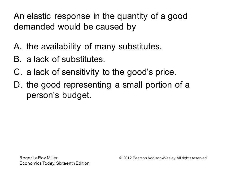 Roger LeRoy Miller © 2012 Pearson Addison-Wesley. All rights reserved. Economics Today, Sixteenth Edition An elastic response in the quantity of a goo
