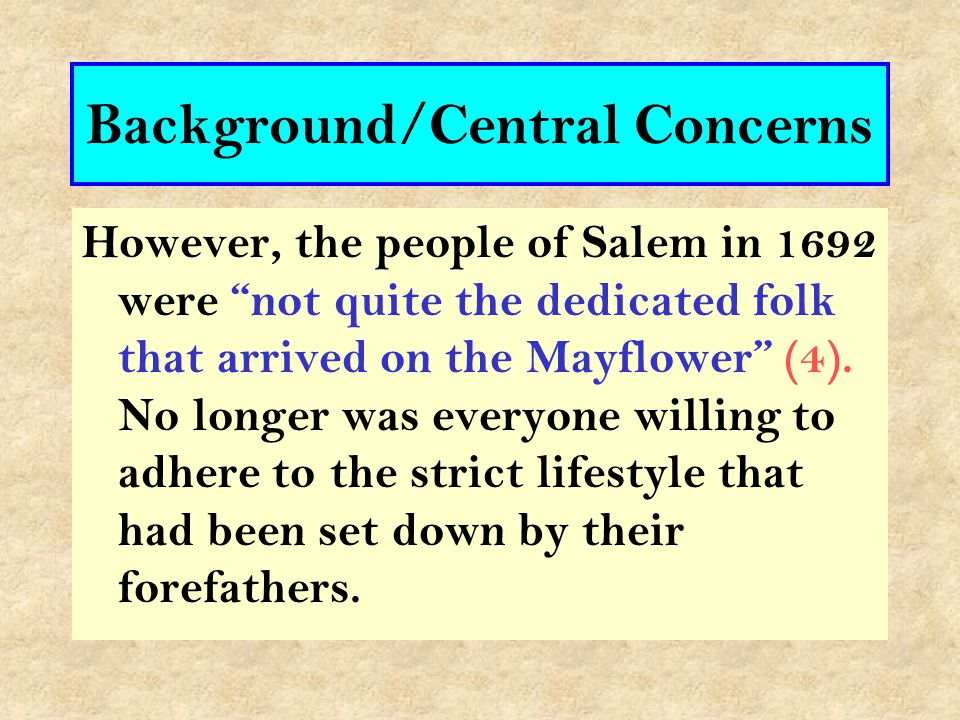 "The play is set in the spring of 1692. The small town of Salem ""had been established hardly forty years before"". (1) The society [at the start]was ""an"