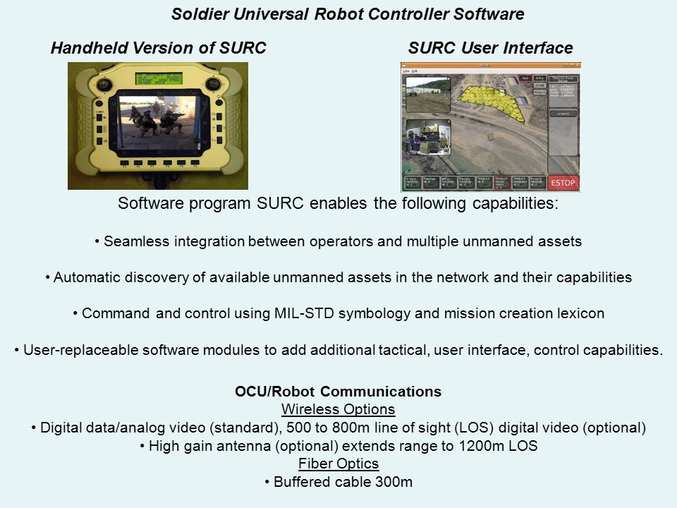 Software program SURC enables the following capabilities: Seamless integration between operators and multiple unmanned assets Automatic discovery of a