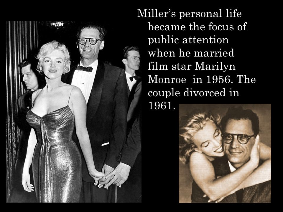 Miller's personal life became the focus of public attention when he married film star Marilyn Monroe in 1956.