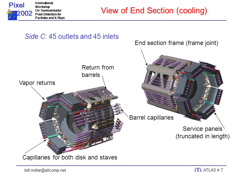 Pixel 2002 2002InternationalWorkshop On Semiconductor Pixel Detectors for Particles and X-Rays bill.miller@allcomp.net iTi iTi : ATLAS # 7 End section frame (frame joint) Return from barrels Vapor returns Service panels (truncated in length) View of End Section (cooling) Side C: 45 outlets and 45 inlets Barrel capillaries Capillaries for both disk and staves
