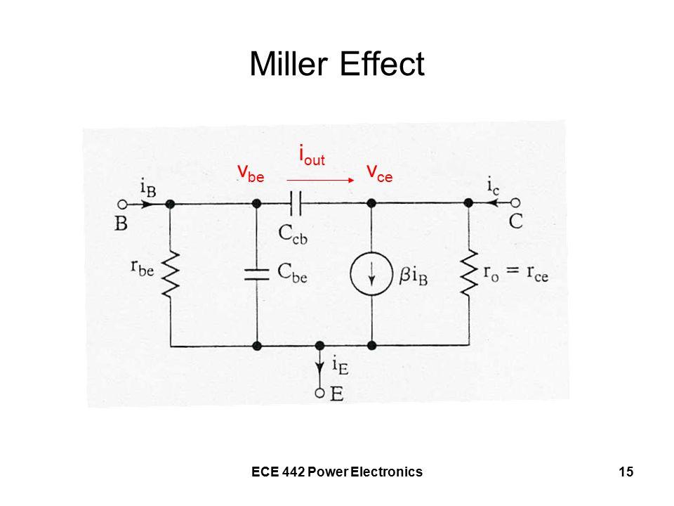 ECE 442 Power Electronics15 Miller Effect v be v ce i out